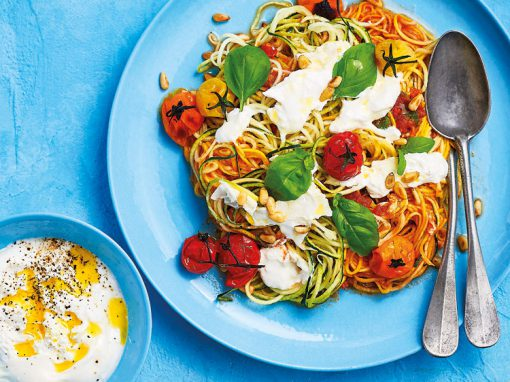 Rainbow courgetti with balsamic roast tomatoes